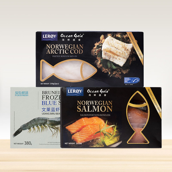 【健康海鲜组合】蓝虾380g+三文鱼+北极鳕鱼