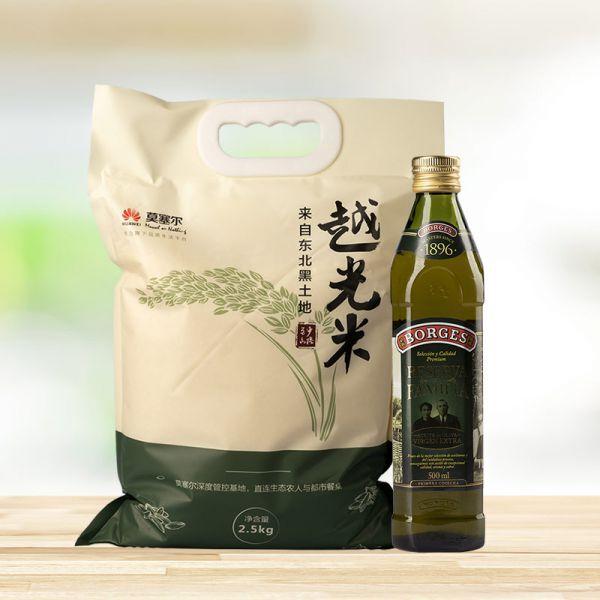 丹东越光米2.5kg+伯爵家族橄榄油1支
