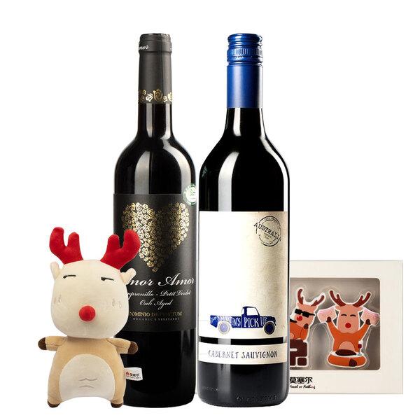 【赠公仔+冰箱贴】马丁小车赤霞珠葡萄酒+炽爱葡萄酒组合