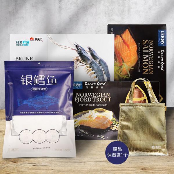 【海鲜礼包】鳕鱼500g+蓝虾800g+三文鱼250g+鳟鱼250g