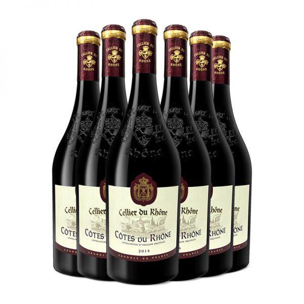 【买5赠1】法国 罗纳酒窖干红葡萄酒 5支